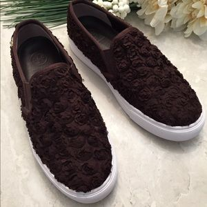 Tory Burch Brown Rosette Leather Slip On Size 7